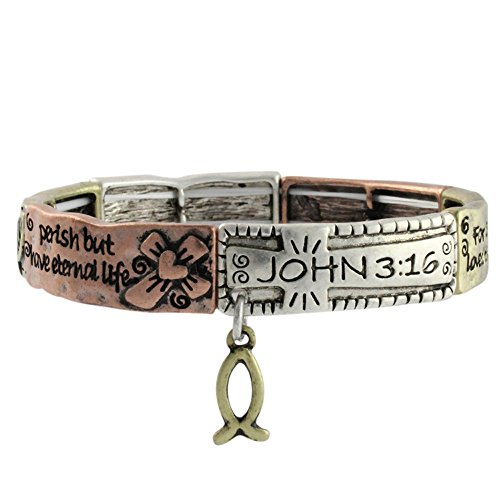 Heirloom Finds Oxidized Triple Tone John 3:16 Scripture Stretch Bracelet