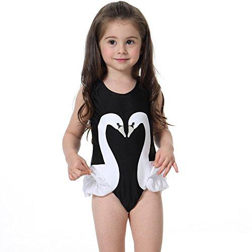 AMENON Baby Girl Swimwear 2017 Swan Flamingos Printed Kids Swimsuits One Piece Children Summer Swimming Sunsuits with Hat (S (0-1Y), (Black Swan Halloween 2017)