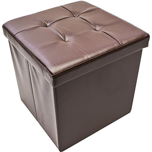 Sorbus Faux Leather Folding Storage Ottoman Cube Foot Rest Stool Seat, Chocolate