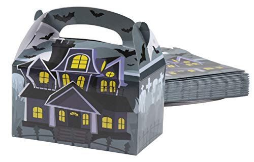 Treat Boxes - 24-Pack Paper Party Favor Boxes, Halloween Themed Haunted House Design Goodie Boxes for Trick-or-Treat and Events, Party Gable Boxes, 6.2 x 3.5 x 3.6 Inches -