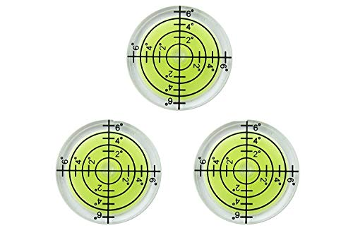32mm Circular Bubble Spirit Level BY GFNT for Tripod, Phonograph, Turntable Etc (3-Pack Green)
