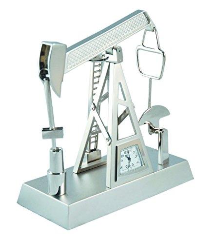 Sanis Enterprises Silver Pump Jack Clock, 4.5 by 4.5-Inch