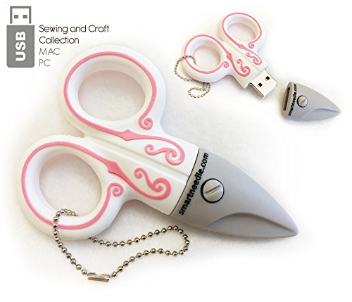Sewing Themed USB Flash Drives for data transferring, storage and back-up, (4GB, Scissor White)