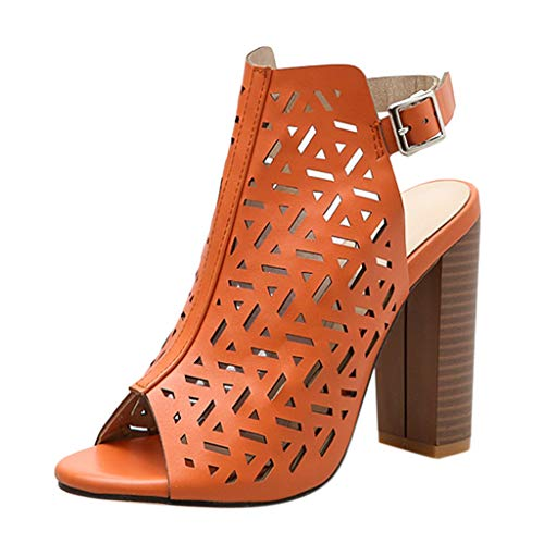 Respctful✿Women High Heels Sandals Cutout Ankle Strap Platform Chunky Sandal Roman Platform Wedge Shoe -