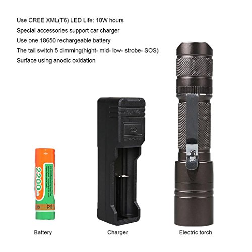 (Rumas Drop & Crush Resistant SupFire A6 Flashlight, Tac Light Torch Flashlight, Zoomable 5 Modes 900LM Waterproof Camping Electric Torch, Shipped from US (Black))