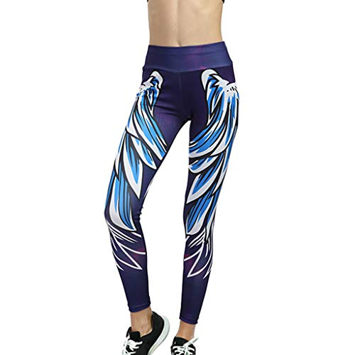 FONMA Women Line Digital Print Yoga Thread Pants and Hips High Waist Thread Yoga Pants Purple ()