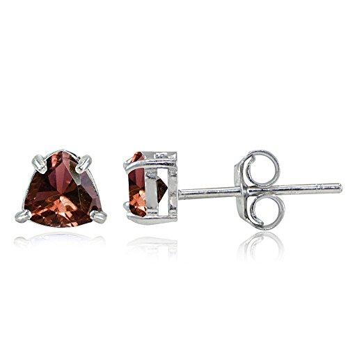 Trillion Garnet Necklace (Sterling Silver Genuine Garnet Trillion-Cut Stud Earrings)