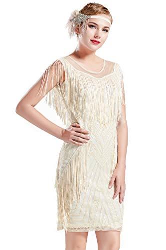 BABEYOND 1920s Gatsby Dress Long Fringe Flapper Dress Roaring 20s Sequins Beaded Dress Vintage Art Deco Dress (Apricot, -