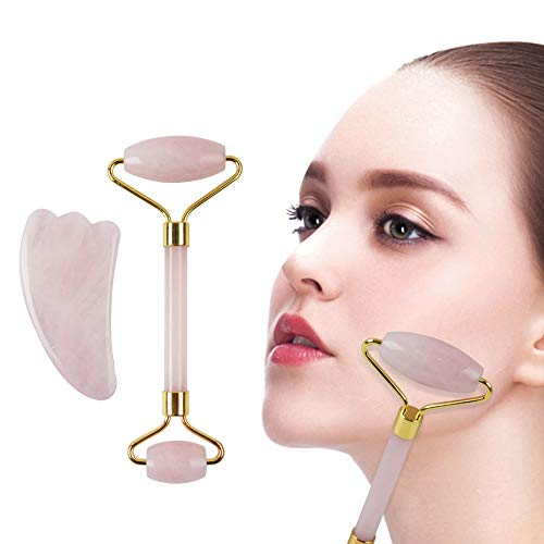 Rose Quartz Roller & Gua Sha Massage Tool Set, Jade Roller for Face, 100% All-Natural jade, Highly Potent, Anti Aging Wrinkle, Facial Massager Therapy, Clears Toxins, Reduces Puffiness