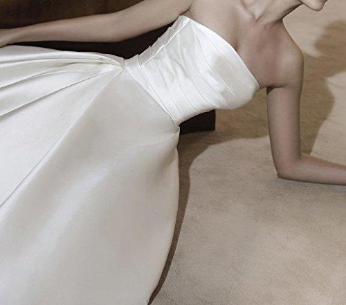 Elfenbein Brautkleider Lace Hochzeitskleider BRIDE A Satin Frauen Dreiviertel aermel GEORGE Linie xO4I8vw