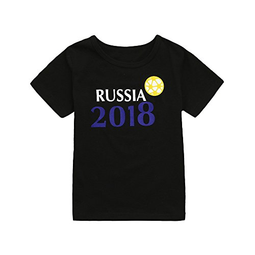 Respctful ♫♫ Baby Boys Short Sleeve Summer Cotton T-Shirts Toddler Infant Kids Cute Football Soccer Russia Print Tee Black ()