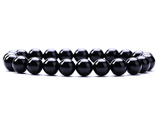 Natural Gemstone Semi Precious Round Beads Bracelet 8mm Handmade Stretch Bracelet Unisex Jewelry (AAA Black Agate) ()
