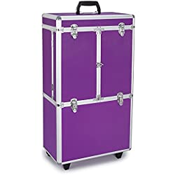 Top Performance Grooming Cases with Wheels - Durable and Versatile Aluminum Cases Designed for the Storage of Grooming Tools and Supplies for the Professional Pet Groomer, Purple