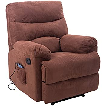 Nice HomCom Heated Vibrating Suede Massage Living Room Recliner Chair With  Remote   Brown