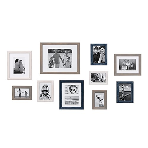 Kate and Laurel Bordeaux Coastal Gallery Wall Kit, Set of 10 with Assorted Size Frames in 3 Different Finishes, White, Blue and Gray