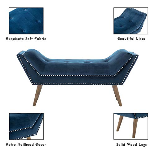 Tufted Upholstered Bedroom Bench, Fabric Rustic Ottoman Footstool for End of Bed Living Room Entryway Hallway Navy Blue