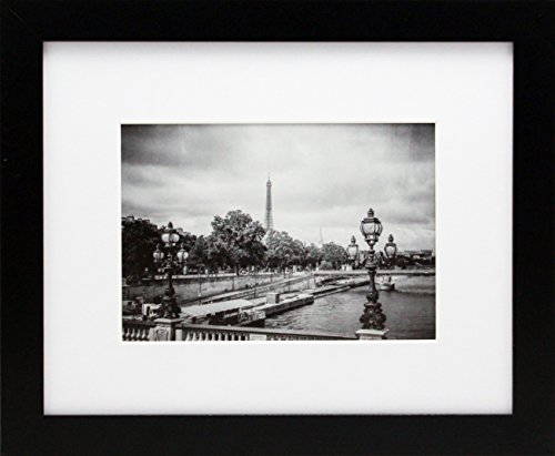 8x10 Black Gallery Picture Frame with 5x7 Inch Mat - Wide Mo