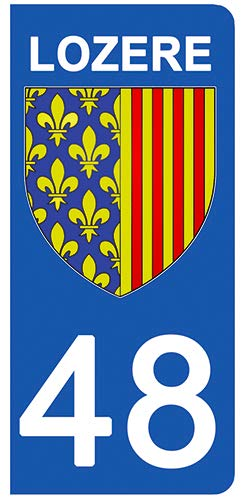 DECO-IDEES Lot de 2 Stickers pour Plaque d'immatriculation - 48 - Blason LOZERE - Ré gion Occitanie