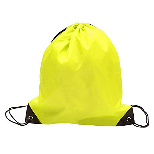 Sechunk 5 Pieces Drawstring Bag 210D polyester rope bag pulling nylon Oxford pocket Sack Cinch Tote Gym Storage Backpack (yellow, 5 ()