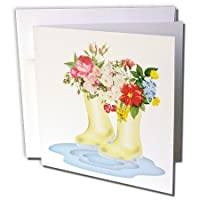 Anne Marie Baugh - Flowers - Cute Rain Boots In A Puddle Filled With Flowers Illustration - Greeting Cards