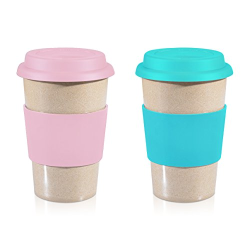 Eco Friendly Mugs - 14oz Value Pack Pink + Blue 100% Organic Eco Friendly Reusable Travel Mug, To Go Takeaway Coffee Cup, Biodegradable Material FDA Approved BPA Free, Leak Proof Silicone Lid & Heat Resistant Grip