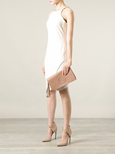 137042960807 Gucci Soho Leather Clutch Envelope Black Bag Tassel Handbag New ...