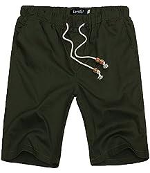 Lende Men Linen Casual Classic Fit Flat Front Beach short cotton