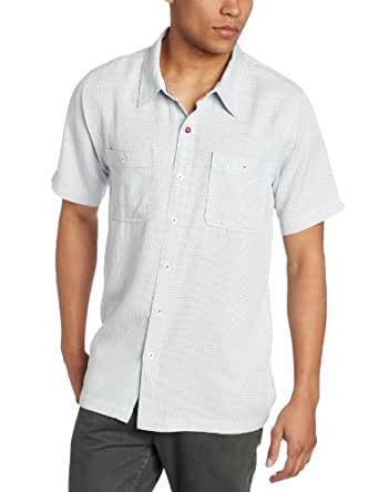 Toes on the Nose Men's Pebble Beach Short Sleeve Woven Shirt, Light Blue, Small