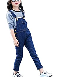 97d90721fed2 Girls Big Kid Adjustable Strap Long Jeans Cotton Suspender Denim Bib  Overalls 1P
