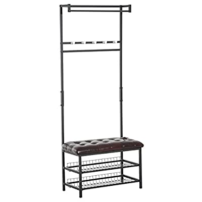 "HOMCOM 81"" Tall Adjustable 2 Tier Faux Leather Ottoman Bench Shoe Shelf Coat Rack - Dark Brown - ✅ALL IN ONE ENTRY BENCH: The perfect bench for your front hall, mudroom, or entry with ample storage for shoes, jackets, purses, along with a convenient faux Leather cushion seat for dressing. ✅AMPLE STORAGE SPACE: This rack features a two-tier under seat rack, designed for sneakers, loafers, and flats, and an adjustable rail with five hooks and an overhanging clothing rod. ✅DURABLE AND STYLISH: Built on a high-quality, rust-resistant steel tube frame with a durable, easy clean faux leather bench that can support up to 220 lbs, this rack will be lasting and useful from season to season. - hall-trees, entryway-furniture-decor, entryway-laundry-room - 41CnFPWd0XL. SS400  -"