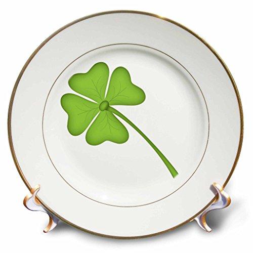 3dRose Green Four Leaf Clover Illustration Plate, 8