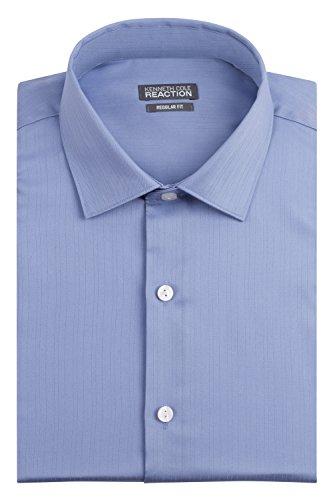 Kenneth Cole Men's Textured Regular Fit Solid Spread Collar Dress Shirt, Blue, 18
