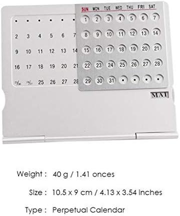 Tischkalender Kalendarien Einzigartige 100-jähriger Kalender Aluminiumlegierung Metall Tisch Englisch Kalender Büro-Schreibtisch-Dekoration Geschenke (Color : Silver)