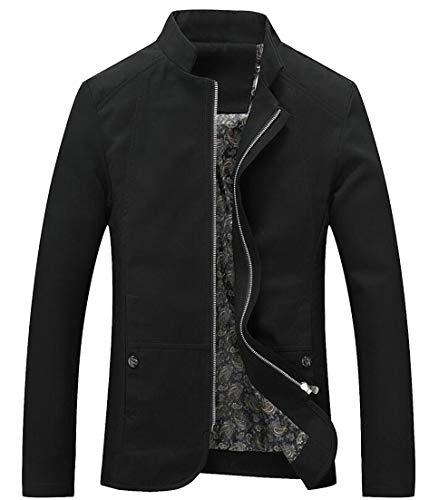 Collare Giacca Leggero Nero Basamento Slim Di Cotone Eku Zip Fit up Casuale Maschile C8p1P5C