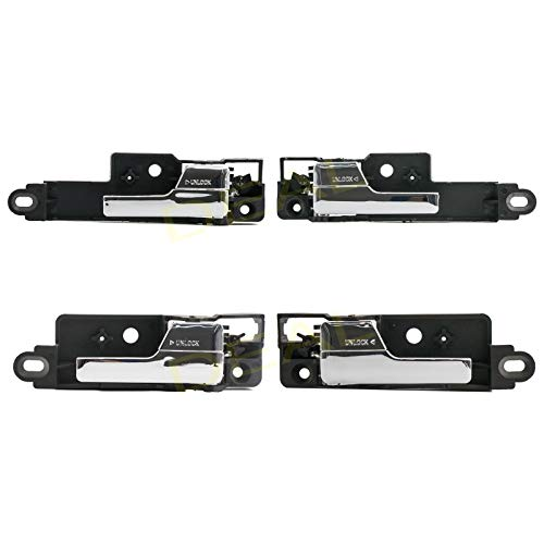 (DEAL New 4pcs Complete Front+Rear Passenger+Driver Black Base Chrome Lever Interior Door Handle Replacement Kit Fit 06-12 Ford Fusion 06-11 Mercury Milan 06 Lincoln Zephyr 07-12 MKZ)