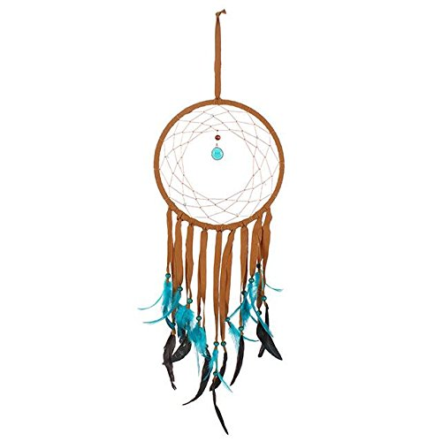 Something different Dream Catcher Med Brown Suede Turq Feathers