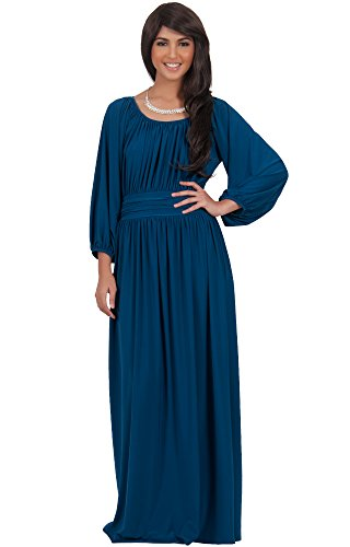 Plus Size Peasant Dresses (KOH KOH Plus Size Women Long Sleeve Sleeves Vintage Peasant Empire Waist Fall Loose Flowy Fall Winter Casual Maternity Abaya Gown Gowns Maxi Dress Dresses, Blue Teal 3X 22-24 (2))