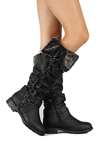Fourever Funky Women's Vegan Leather Furry Cuff Knee High Slouch Rider Boots Black zGmuZNkI