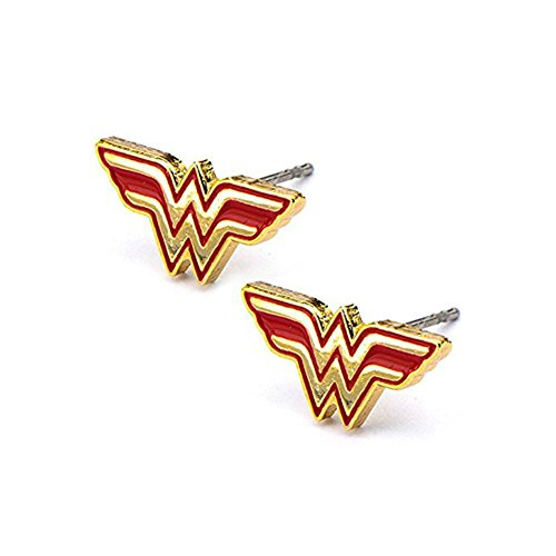 DC Comics Womens Wonder Woman Stud Earrings (Red & Gold Tone) W/Gift Box Superhero - Cyclops Costumes Marvel Heroes