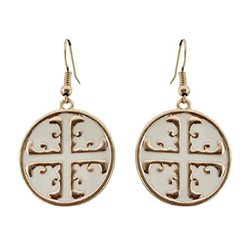 Little B House Women's Chinese Style Circular Earrings 2.4CM One Size White (White Circular Earring)