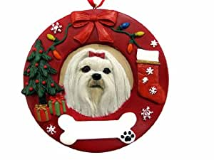 E&S Pets Maltese Personalized Christmas Ornament