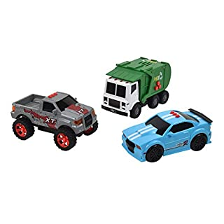 Sunny Days Entertainment Mini City Vehicles 3 Pack – Lights and Sounds Pull Back Toy Vehicle with Friction Motor | Includes Race Car Pick Up Truck and Recycle Truck – Maxx Action