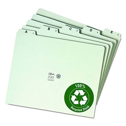 Smead 100% Recycled Pressboard File Guides, 1/5-Cut Tab (A-Z), Letter Size, Gray/Green, Set of 25 (50376)