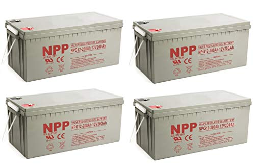 (NPP NPG12-200Ah AGM Rechargeable Gel Deep Cycle 12V 200 Ah Battery with Button Style Terminals (4 Pack))