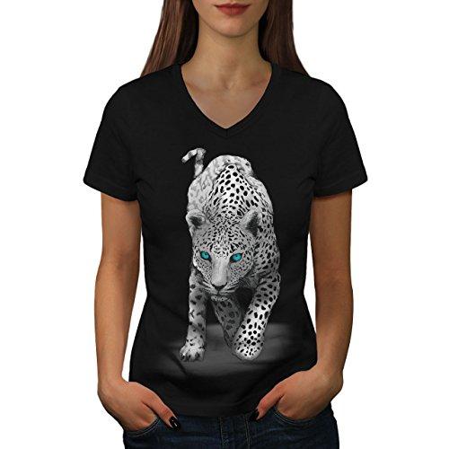 (wellcoda Panther Blue Eyes Animal Womens V-Neck T-Shirt, Big Casual Design Tee Black M)