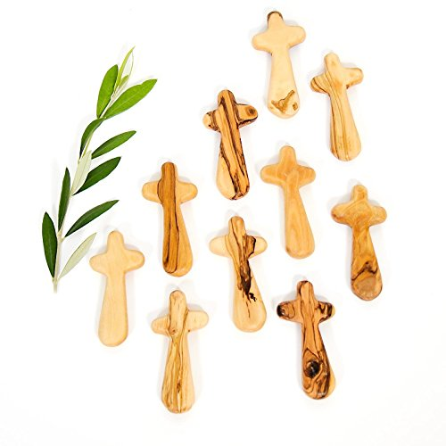 Certified Holy Land Olive Wood Caring Holding Cross 10, Medium Pocket Cross – 3.75 x 1.75 x 0.5