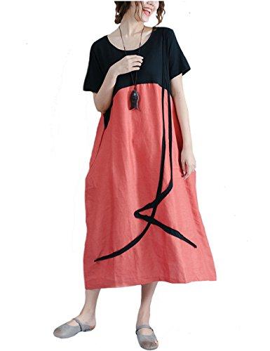 伝統放棄チャンピオンシップワンピース レディースロングドレス 夏 半袖 aライン綿麻ゆったり体型カバー大きいサイズカジュアル 着痩せ