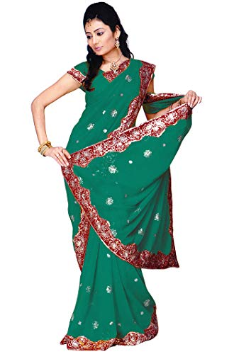 Indian Trendy Women's Bollywood Sequin Embroidered Sari Festival Saree Unstitched Blouse Piece Costume Boho Party Wear (Pine Green)
