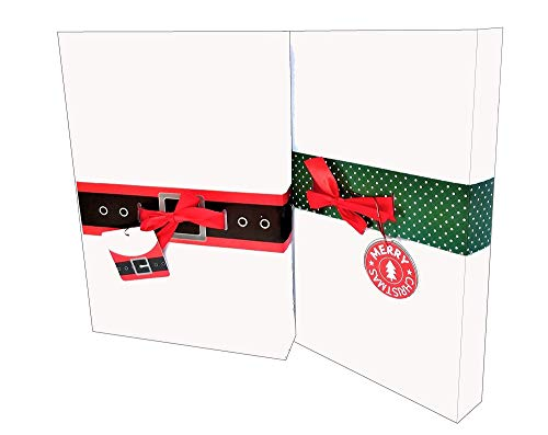 Christmas Gift Box Bow Bands with Gift Tags - 9 Pack Gift Box Elastic Sleeves with 9 Designs - Fit Standard Shirt Boxes