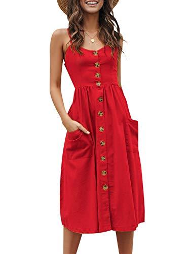 (Simplee Women's Boho Floral Spaghetti Strap Dress V Neck Button Down Swing Midi Dress Red 12)